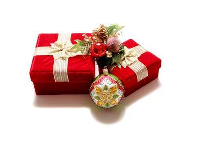 Christmas presents in red gift boxes photo