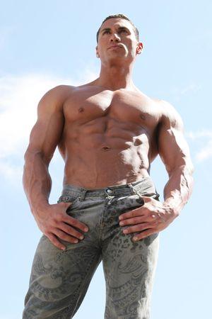 Sexy man in spijkerbroek Stockfoto - 2074523
