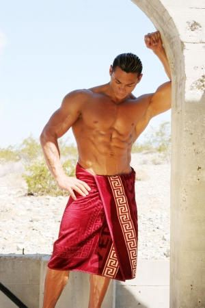 Sexy man in spa towels