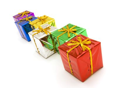 Colorful Christmas gift boxes on white background Stock Photo - 2077793