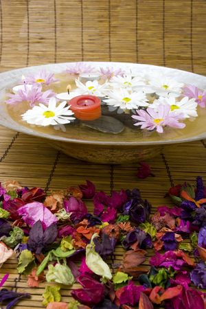 revitalize: White daisies and spa candles in water