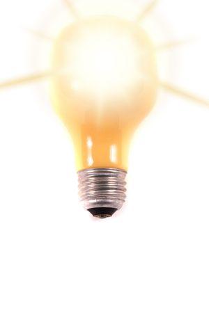 Bright lightbulb on white background