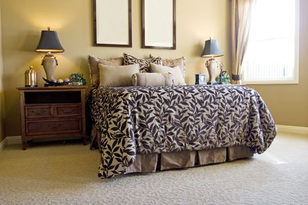 Modern tastefully decorated master bedroom Stock Photo - 2111728
