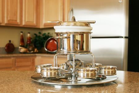 Fondue set on the kitchen counter