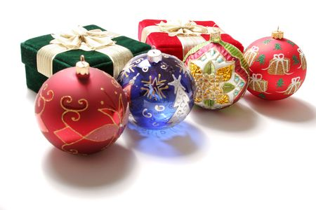 Colorful Christmas gift boxes and ornaments photo