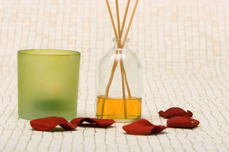 Fragrance sticks, candle and rose petals Stock Photo - 2126432