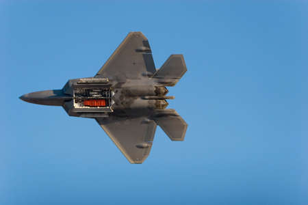 raptor: F-22 Raptor jet airplane during airshow Stock Photo