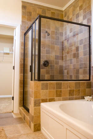 Modern tastefully decorated bathroom photo