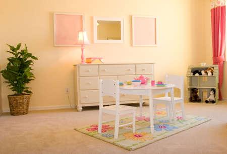 Pink childrens playroom Stock Photo