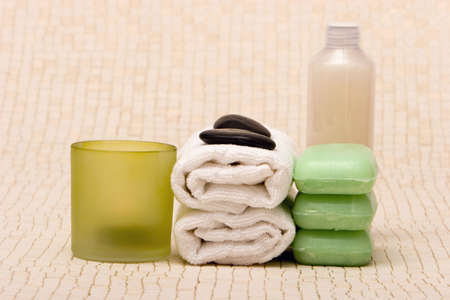 stone wash: Spa towels, soaps, body cream and candle Stock Photo