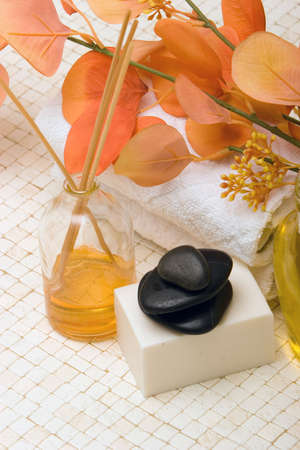 stone wash: Spa towels, oils, massage stones and soap