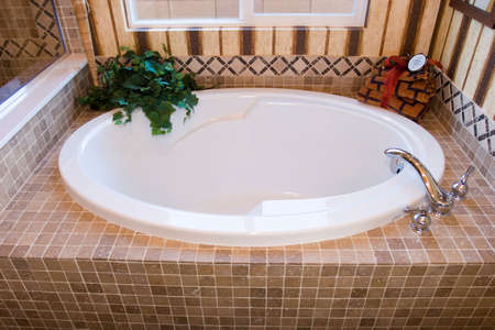 remodeled: Modern bathtub a luxury bathroom Stock Photo