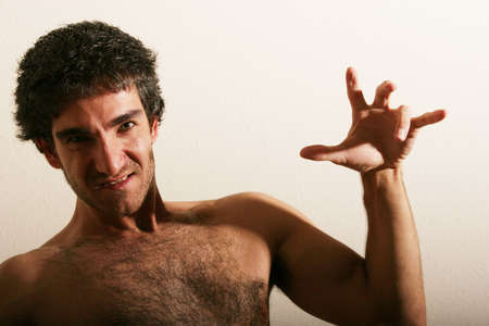 hairy chest: Handsome young man portrait Stock Photo