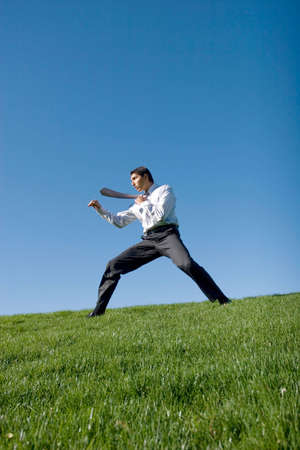 Businessman doing karate moves on green grass Stock Photo - 2214742