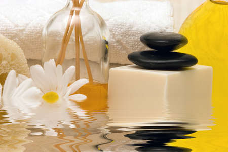 stone wash: Spa towels, oils and soap Stock Photo