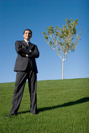 decision tree: Businessman in dark suit Stock Photo