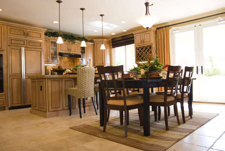 modern dining room: Modern tastefully decorated dining room Stock Photo