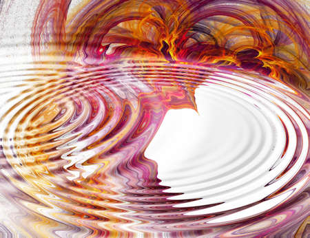 Rippled water on fractal background photo