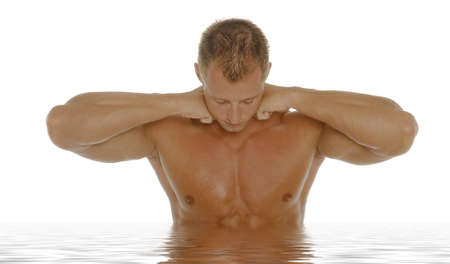 Sexy body builder flexing his muscles Stock Photo - 2336626