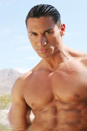 washboard: Sexy body builder with washboard abs