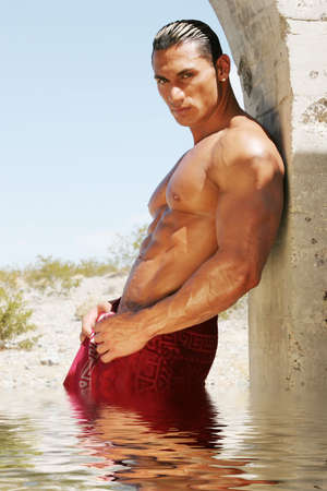 washboard: Sexy body builder in spa towel