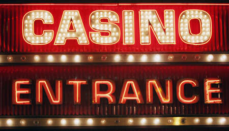 light game: Neon light casino sign Stock Photo