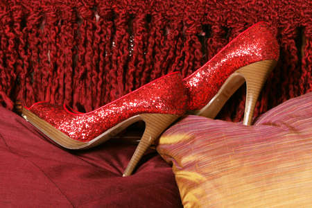 Pair of high heeled red shoes