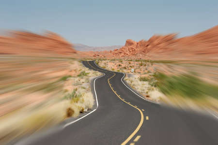 A road goes into Valley of Fire, Nevada photo