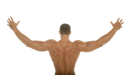 muscular man: Back of a muscular man