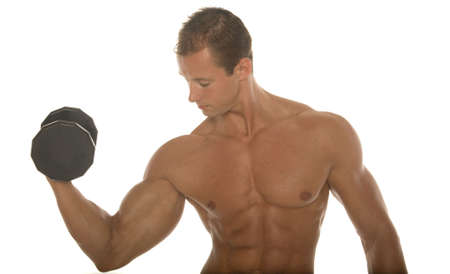 Sexy body builder working out with dumbbell photo