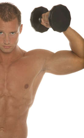 sixpacks: Sexy body builder working out with dumbbell Stock Photo