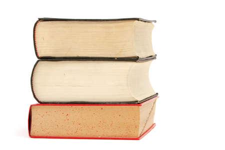 흰색 배경에 두꺼운 책의 스택 스톡 콘텐츠