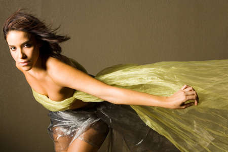 Beautiful woman wrapped in silk Stock Photo - 2349526