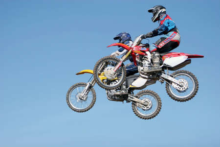 scrambling: Dirtbikes at the motocross event