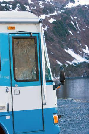 recreational vehicle: Recreational vehicle in Alaska Stock Photo