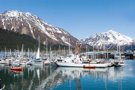 Boats at the Seward, Alaska marina 版權商用圖片