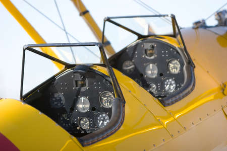 Close-up van een vintage vlieg tuig cockpit