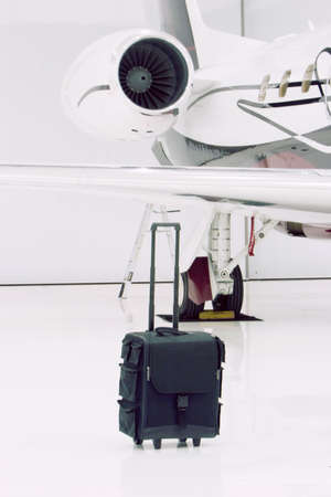 Luxury private jet parked Stock Photo
