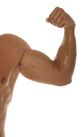 Biceps of a muscular man photo
