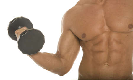 cuerpo hombre: Muscular organismo constructor brazo y el pecho