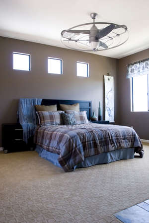 Modern tastefully decorated master bedroom