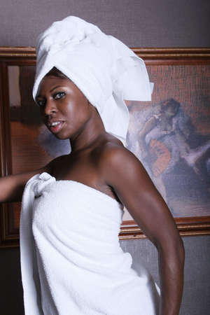 woman bath: African American woman in spa