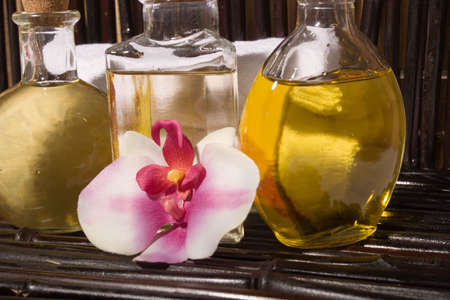 Essential body massage oils in bottles for bodycare Stock Photo - 2717929