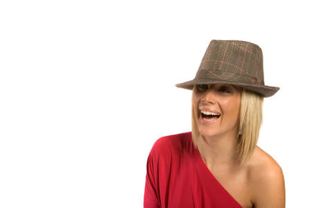 Sexy blonde girl wearing fashionable hat Stock Photo - 2714680