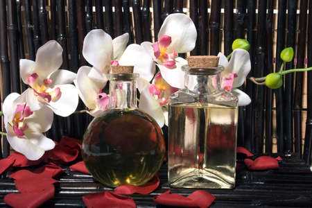 Essential body massage oils in bottles for bodycare Stock Photo - 2733571