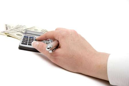 Hundred dollar bills and calculator photo