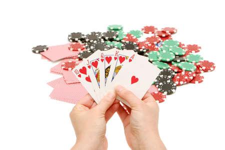 royal flush: Royal flush and poker chips