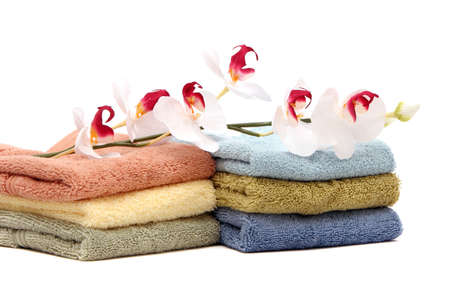 Stack of colorful spa towels