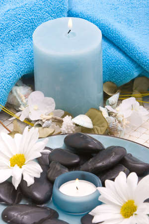 stones, candle and daisies Stock Photo - 2987960