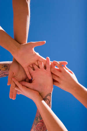 Group of people hands in the air Stock Photo - 2987798